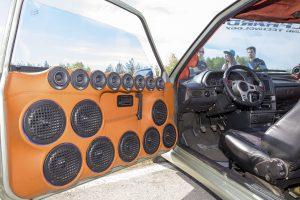 "Perm, Russia - June 7, 2014: Many built-in door car music speakers at Avto - moto festival ""Resox Tuning Fest 3""."